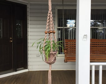 Macrame Plant Hanger in pottery 6 mm Polyolefin cord with wooden beads, unique beaded neutral flower hanger