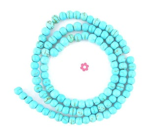 x 50 beads round 4mm turquoise howlite (34)