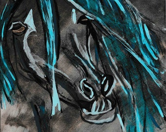 Wild Stallion in Blue, Bronze and Black Wall Decor