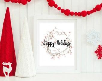 Christmas Printable, Festive Home Decor, Christmas Wreath Decor, Happy Holidays, Christmas Wall Art, Holiday Home Decor, Holiday Printable