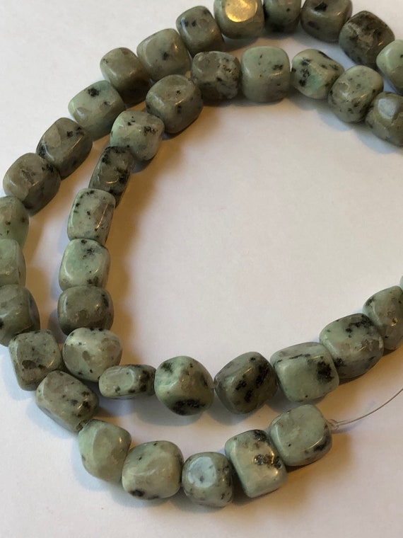 """1 Strand of Jasper Beads, 16"""", about 40 Pieces, Sesame, Light Blue and Black, Treated Gemstone, Medium Size, 8mm, Cube Shape, Mixed Sizes"""