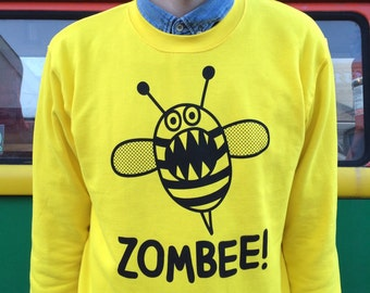 Zombee Sweater, Funny Sweater, Yellow Jumper, Zombie Sweater, Walking Dead, Fun Sweatshirt, Unisex Jumper, Colourful Jumper, Bee Jumper