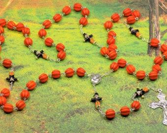 Harvest Pumpkin Rosary - Orange Magnesite Pumpkin Beads - Scarecrow Ceramic Beads - Mary & Child Center -  Grapes and Vine Crucifix