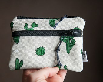 coin purse / cactus vegan wallet women men / cute pouch / card holder / nature wallet