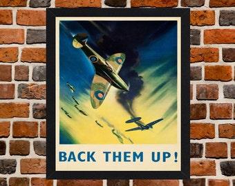 Framed Spitfire RAF Back Them Up! Second World War British Propaganda Poster A3 Size Mounted In Black Or White Frame