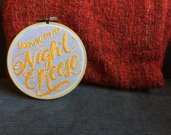 Night Cheese Embroidery Hoop