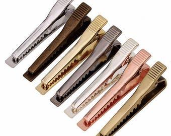 5pcs 51x7mm Tie Clip with teeth, Tie Bar, Groomsmen, Wedding, Father's Day