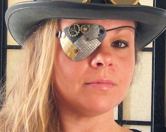 Steampunk Pirate Industrial Metal Effect Airship Captain Leather Eye Patch Cosplay