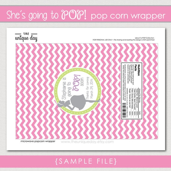 Popcorn Wrapper About To Pop Baby Shower Rtp Thank You