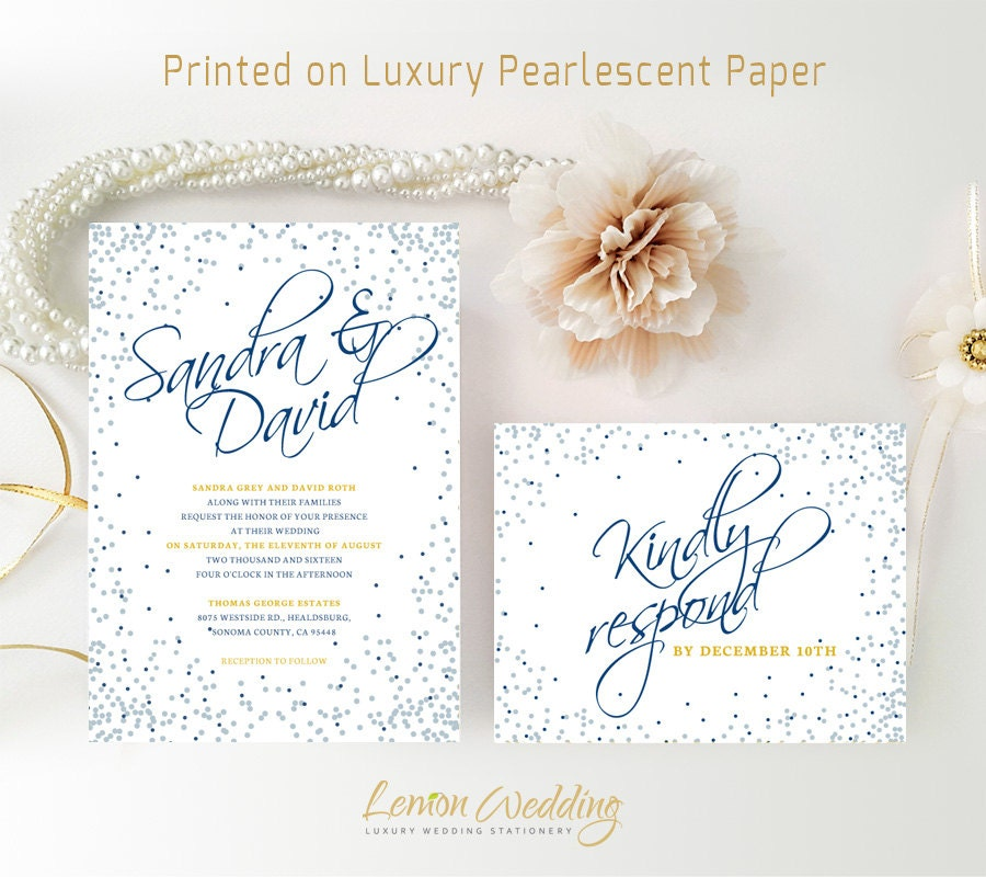 Silver And Royal Blue Wedding Invitations Printed On Shimmer