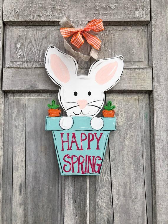 Hand painted, personalized, Easter, Bunny, door hanger, wall sign or Easter decoration, spring door hanger, welcome spring, bunny in pot