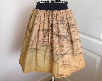 Ladies Lord of The Rings Middle Earth map inspired full skater style skirt