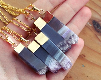 Gold Dipped Amethyst Pillar Crystal Necklace - Rough Clear Purple Spike Square Natural Raw Druzy Pendant Gold Plated Chain, Natural Layering