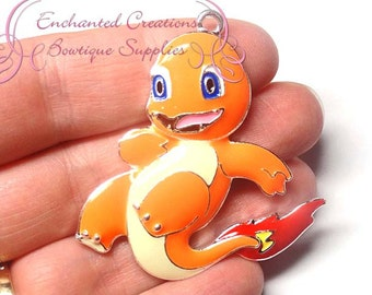 Pokemon Orange Charmander Inspired Chunky Pendant, Keychain, Bookmark, Zipper Pull, Chunky Jewelry, Purse Charm