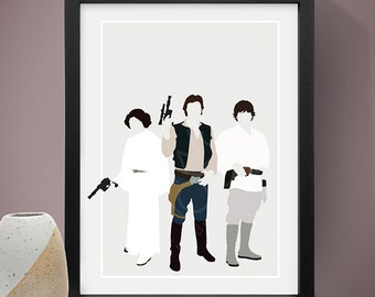 Star Wars Cast Poster, Princess Leia, Han Solo, Luke Skywalker, Film Poster, Movie Poster, Film Print, Movie Print