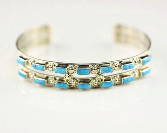 Zuni Indian Jewelry Handmade Sterling Silver Turquoise Cuff Bracelet