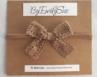 Beige Lace baby bow nylon headband | baby headband | Baby bow