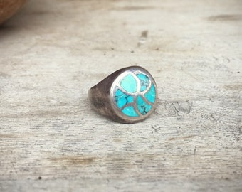 1970s Sterling Silver Turquoise Ring Channel Inlay, Vintage Ring, Native American Indian Jewelry, Turquoise Jewelry, Old Pawn, Navajo Ring