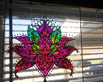 Lotus stained glass sun catcher