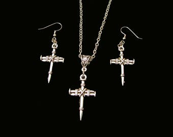CROSS Of NAILS Unique, Moving Christian Jewelry - Your Choice - Necklace, Earrings or Complete Set - Resembles Calvary Crucifixion Nails