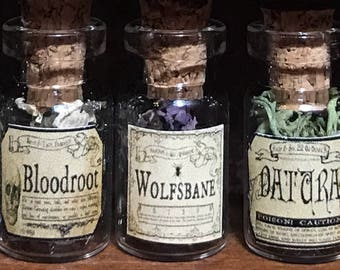 """Jar of WOLFSBANE for a dollhouse, witch's herbs and poisons, dollhouse size, in a glass jar 1:12 1/12 1"""", under 1"""" tall, (simulated)"""