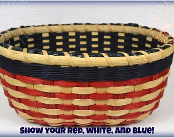 """BASKET PATTERN """"Betsy"""" Double Wall Patriotic Table Basket in Red, White, and Blue"""