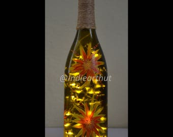 Orange Strawflowers - Spring Collection Bottle Art
