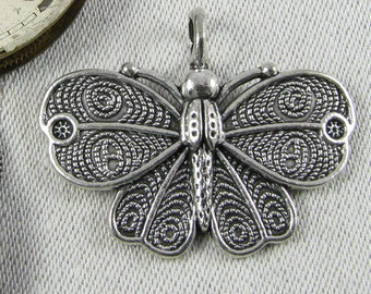 1 or 6, Butterfly, Butterfly Charm, Butterfly pendant, Butterfly Gift, Butterflies, Summer Charms, Silver Butterfly, ANM113