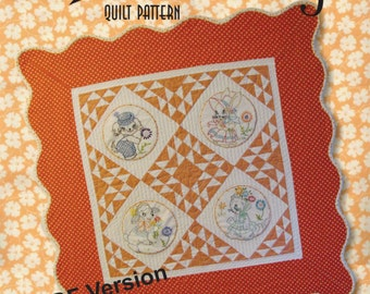 Adorable Retro Baby Quilt Pattern - PDF Version