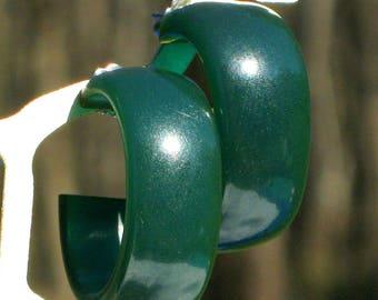 Bakelite Earrings Blue Teal Vintage Estate Hoops Rare Wide Oval Modernist Catalin Bold Mid Century Art Deco Translucent Pierced Statement