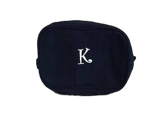 Monogram Makeup Bag - Blue - Cosmetic Bag - Travel Makeup Bag