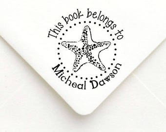 Custom Teacher Stamp, Teacher Rubber Stamp, Teacher Gift Stamp, Personalized Name Teacher Stamp, Star Fish Stamp,This book belongs to,  B19