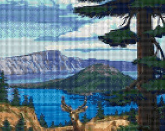 Oregon Crater Lake travel poster Cross Stitch pattern PDF - Instant Download!