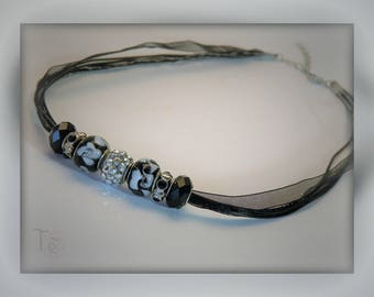 Organza Ribbon Necklace/Black and Silver Ribbon Necklace/Black and White Beads/Statement Necklace/Lampwork Beads/Party Jewelry/Gift Boxed