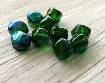 Czech glass beads,  nugget beads, emerald green 10