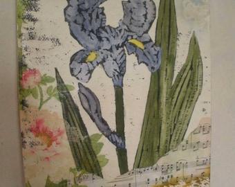 Blue Iris mixed media wall art canvas