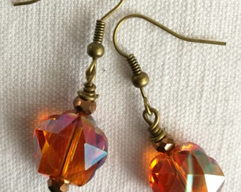 Faceted amber crystal earrings / free shipping