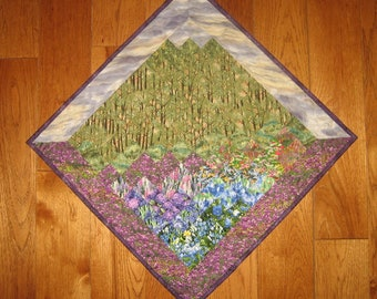 Purple Sky Trees Diagonal Art Quilt Fabric Mountain Wall Hanging, Tapestry Fabric Textile Art, Landscape Art Quilt, Home Office Decor