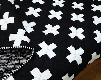 Plus Quilt / Swiss Crosses Quilt / Black & White Quilt / Modern Minimalist Quilt / Queen Quilt / Toddler Quilt / Throw Quilt / Twin Quilt