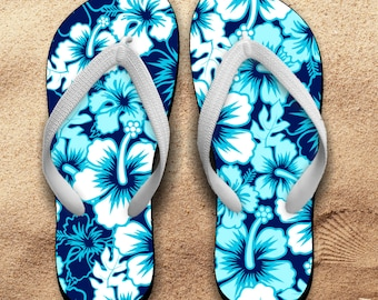 Hawaii Flip Flops/ Hawaii Blue Hibiscus Tropical Flip Flops / Hawaii Souvenir Luau Island Ocean Blue Hibiscus Illustration Vacation Sandals