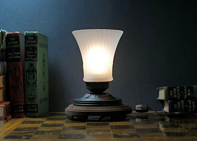 Victorian inspired accent light table lamp frosted fluted zoom aloadofball Images