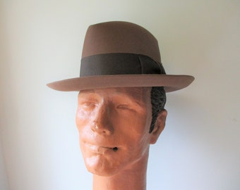 Stetson 3x Beaver Fedora Hat Vintage 1950s 1960s Cocoa Chocolate Brown Mens Rat Pack