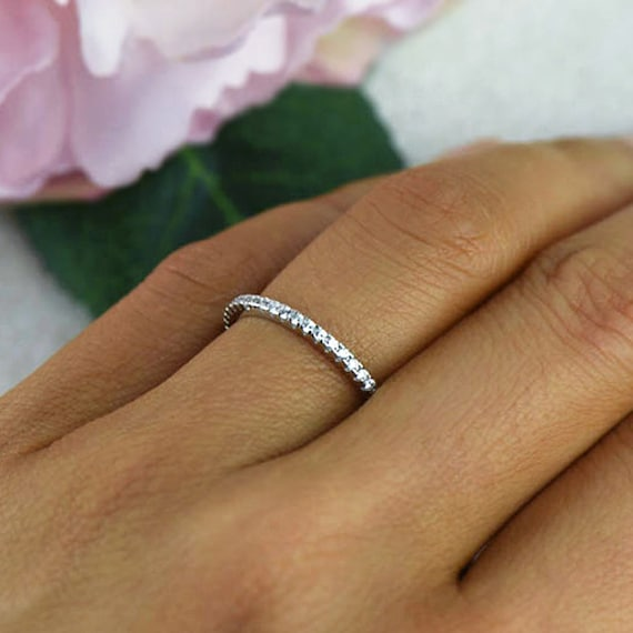 Small Half Eternity Ring 1.5mm Wedding Band Engagement Ring