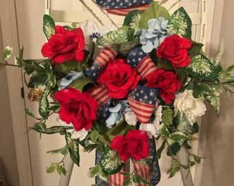 Tabacco basket, Tabacco basket for Front door, Patriotic Door Hanger, Patriotic Wreath, Tabacco Rustic Decor, Tabacco Door Hanger