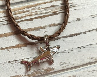 Shark Necklace - Silver Shark Charm on Brown Braided Necklace Cord - Surfer Style  - Free Shipping - Buy One = Give Clean Water
