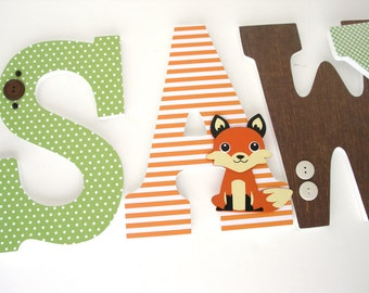 Brown, Orange & Green Custom Wooden Letters, Nursery Name Décor, Boy Bedroom, Hanging Wood Wall Decorations Baby Shower Gift Forest