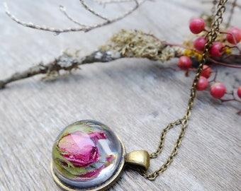 Red rose necklace, gift for woman, real flower necklace, anniversary gift, mothers day gift, terrarium necklace, inspirational, dried flower