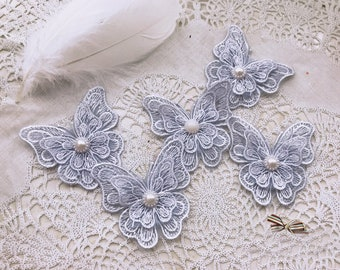 15pcs 7.2*7cm  gray 3D organza butterfly embroidery lace appliques patches L14Q181 free ship