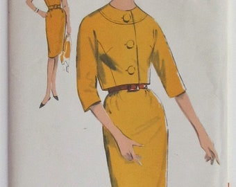 Short Sleeved Dress And Button Front Jacket Three Quarter Length Sleeves Size 12 Vintage Sewing Pattern Advance 3002 Mid Century Modern