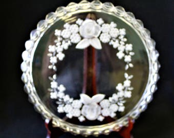 Vintage Mikasa Rose & Floral Heavy Crystal Walther Germany  Frosted Raised Base Cake Plate, Perfect For Wedding, Bridal Shower, Serving Tray
